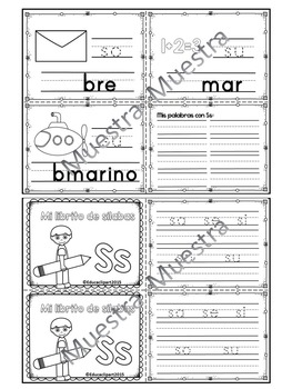 Sílabas - Mini librito sílabas con S/ Spanish Syllables mini book Letter S