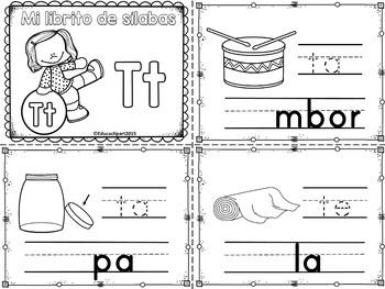 Sílabas - Mini librito sílabas con T / Spanish Syllables mini book Letter T