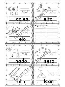 Sílabas - Mini librito sílabas con V / Spanish Syllables mini book Letter V