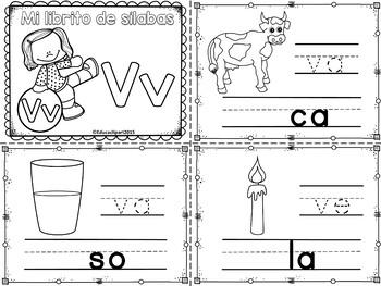 Sílabas - Mini librito sílabas con V / Spanish Syllables mini book Letter V