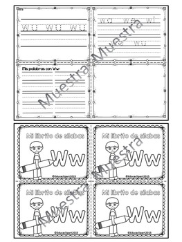 Sílabas - Mini librito sílabas con W / Spanish Syllables mini book Letter W