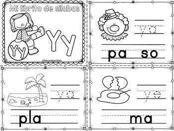 Sílabas - Mini librito sílabas con Y / Spanish Syllables mini book Letter Y