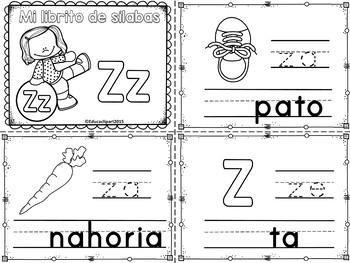 Sílabas - Mini librito sílabas con Z / Spanish Syllables mini book Letter Z