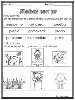 Silabas Trabadas - Hojas de trabajo Spanish Blends