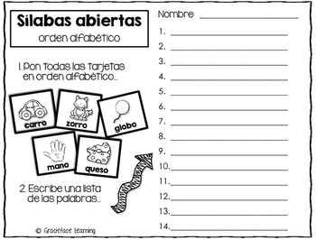 Sílabas abiertas (paquete 1) - Spanish Open Syllables Activities
