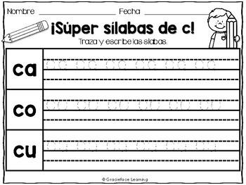 Sílabas contentas - Spanish Phonics Activities for ca, co, cu