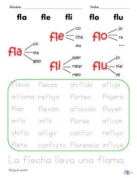 Sílabas dobles o mixtas con: dr, fl, fr, gl, gr