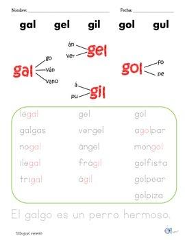 Sílabas dobles o mixtas con: gal, gan, gar, gas