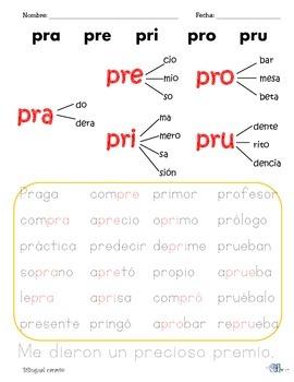 Sílabas dobles o mixtas con: pl, pr, tr, tl, gue/güe, gui/güi