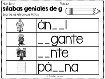 Sílabas geniales – Spanish Phonics Activities for ge y gi