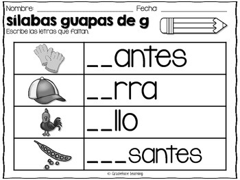Sílabas guapas - Spanish Phonics Activities for ga, gue, gui, go, gu