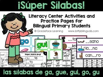Sílabas guapas - Spanish Phonics Activities for ga, gue, g