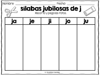 Sílabas Jubilosas Spanish Phonics Activities For Ja Je Ji Jo Ju