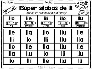 Sílabas llanas – Spanish Phonics Activities for lla, lle, lli, llo, llu