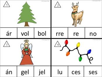 Sílabas para la Navidad for the Bilingual Dual Language Classroom Centers