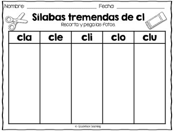 Sílabas tremadas de Cl – Spanish Blends for Cl