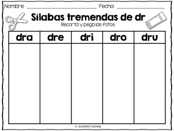 Sílabas tremadas de Dr – Spanish Blends for Dr