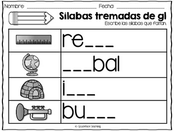 Sílabas tremadas de Gl – Spanish Blends for Gl