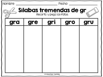 Sílabas tremadas de Gr – Spanish Blends for Gr