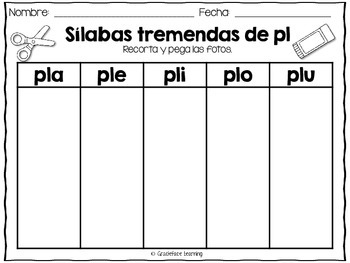 Sílabas tremadas de Pl – Spanish Blends for Pl