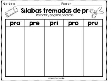 Sílabas tremadas de Pr - Spanish blends for Pr