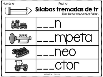 Sílabas tremadas de Tr – Spanish Blends for Tr