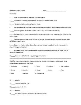 Slacker by Gordon Korman Tests and Activities