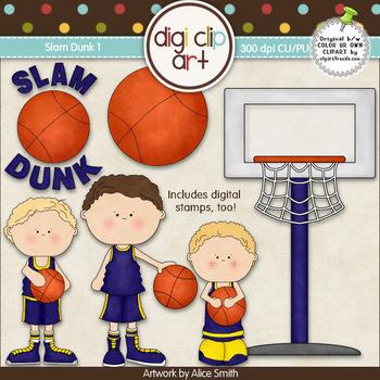 Slam Dunk 1-  Digi Clip Art/Digital Stamps - CU Clip Art