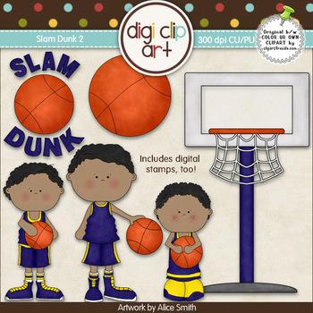 Slam Dunk 2-  Digi Clip Art/Digital Stamps - CU Clip Art