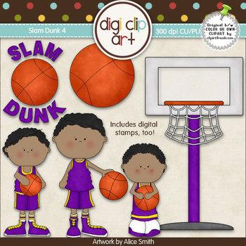 Slam Dunk 4-  Digi Clip Art/Digital Stamps - CU Clip Art