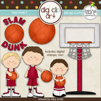 Slam Dunk 5-  Digi Clip Art/Digital Stamps - CU Clip Art