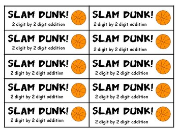 Slam Dunk:  A Math Game for the Whole Class - 2 Digit Addition (no regrouping)