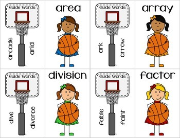 Slam Dunk Dictionary Guide Word Practice 3rd Grade