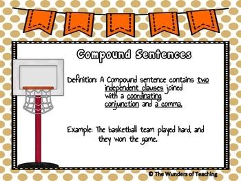 Slam Dunk Sentences: Simple, Compound & Complex Sentences Anchor Chart & Scoot