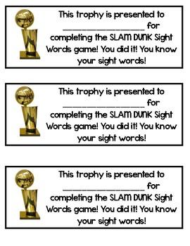Slam Dunk Sight Words Center
