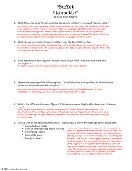 Slam Poetry Comprehension and Analysis Questions, Middle School and High School