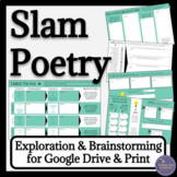 Slam Poetry Exploration, Brainstorming, Writing Activities