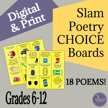 Slam Poetry Listening Choice Boards for Middle School and High School