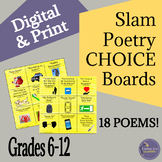 Slam Poetry Listening Choice Boards for Middle School and