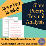 Slam Poetry Close Reading Analysis Questions for Middle Sc