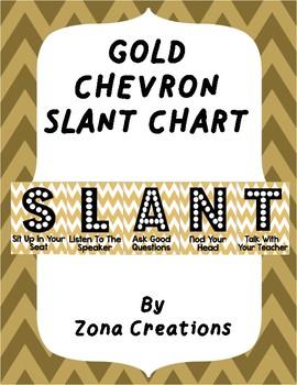 Slant Chart Poster - Gold Chevron - Classroom Participation Strategy