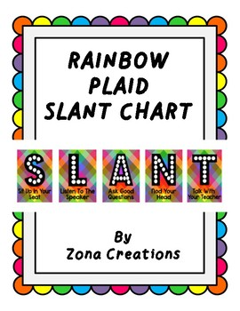 Slant Chart Poster - Rainbow Plaid - Classroom Participation Strategy