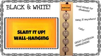 Slant it up wall hanging / decor - Black & White!