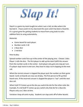 Slap It!  Addition facts