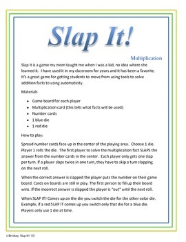 Slap It!  Multiplication (3 times tables)