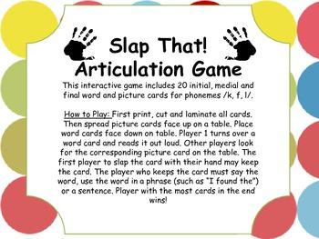 Slap That! Articulation Game
