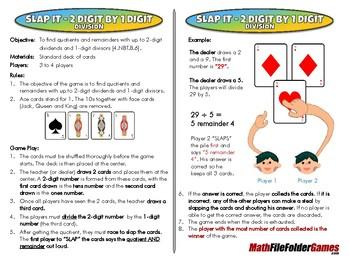 Slap it - 2 Digit by 1 Digit - Division - 4th Grade Math Game [CCSS 4.NBT.B.6].