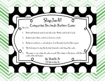 SlapJack! Comparing Decimals Game- 6.NS.7b