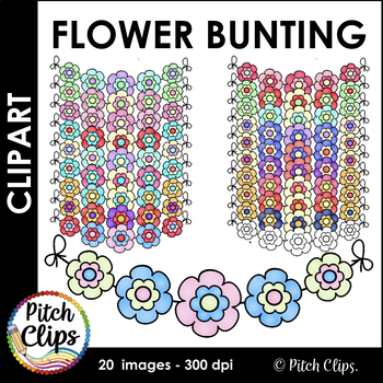 Flower Bunting!  Cute spring bunting clipart (clip art) fo