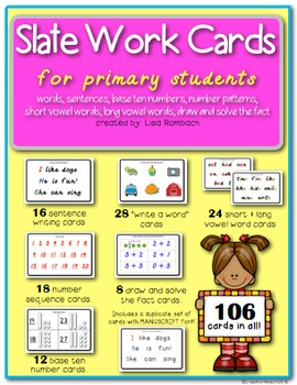 Slate Work Cards for Primary Students